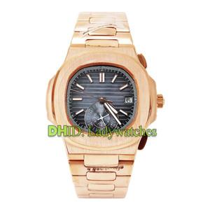 Relógio de ouro clássico rosa relógios de luxo mens 5980 / R-001 relógio de pulso automático automático316L pulseira de aço inoxidável caso relógio azul