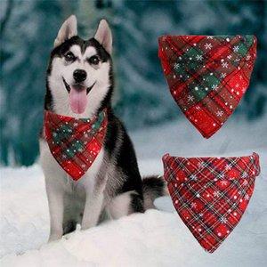 Noel Pet Bandana Dog Yaylar kar tanesi Ekose Üçgen Eşarp Pet Kostüm Aksesuar İçin Kedi ve Köpek A03