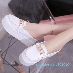 Hot Sale-Thicker bottom half-slipper cake slippers casual slope with lazy s10