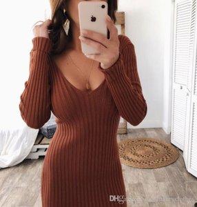 Kadınlar Seksi BODYCON Uzun Elbise Çift V Sonbahar Kış Örgü Uzun kollu Çizgili Elbise Giyim