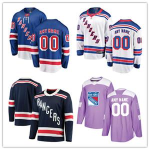 Personalizado 2018 New AD New York Rangers luta o cancro Prática Jersey Stiched personalizado New York Rangers 2018 Inverno clássico Jersey S-3XL
