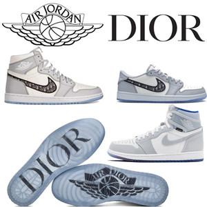 Air Dior Converse X Air Jordan 1 AJ Zoom R2T Retro Racer azul elevado prémio Cestas Triplo alta Top Basketball Shoes 36-45