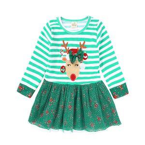 Baby Girls Christmas Party Cosplay Costume Princess Deer Elk Dress Stripe Long Sleeve Dress 6pcs lot