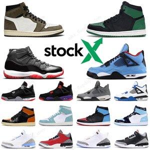 2020 Nike Air Jordan 1 Travis Scott Jordan 3 UNC Chaussures de basket-ball pour hommes Pine Green Jordan 4 Bred Cactus Jack White Cement trainer sport sneakers