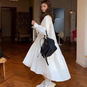 2020 Women Dress Long Sleeve Spring Autumn Vintage Designer Collar Lapel Button Up Ruched Ruffles Cotton White Dress
