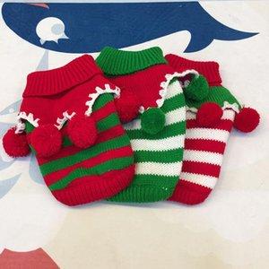 El gato del perro mascota vestuario navidad otoño o invierno vestuario de Navidad del perrito de grueso suéter de la raya roja y verde de ajuste de 2019 Nueva XD22664