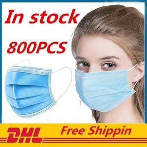 En stock mascarillas desechables Face gruesas máscaras de 3 capas con Earloops para el salón, uso del hogar cómodo en la máscara Stock