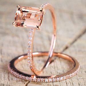 18K розовое золото цветочные кольца набор тонкий принцесса морган нового года годовщина подарок подарок четким бриллиантами ювелирные изделия 2020