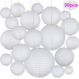 30pcs Lot Mix Size 6''-14'' (15-35cm) White Paper Lanterns Chinese Paper Ball Lampion For Wedding Party Holiday Decoration