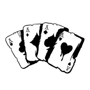 15,3 * 9,9 cm poker graphique vinyle autocollant autocollant de voiture moto décoration pare-chocs fenêtre noir / argent CA-1234