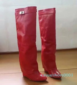 Long boots 100% cowhide High heel boots luxury woman High shoes Designer Ladies shoes zipper Leather Fashion Bare boots Large35-42 41