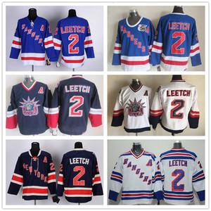 All'ingrosso del Mens New York Rangers 1991 maglie Mens # 2 Brian Leetch Blu Bianco CCM Hockey su ghiaccio Vintage Jersey 100% cucito