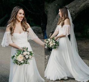 2019 einfache böhmische Brautkleider Western Garden Forest Braut Brautkleider Schulterfrei Schatz A Line Robe de mariee