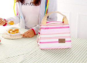 Waterproof Lunch Bags Portable Insulated Food Picnic Tote Thermal Cooler Lunch Bags stripe Picnic Storage Bag Bento Pouch LXL440-A