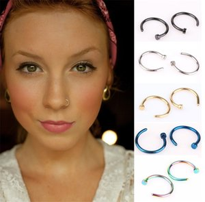 Nariz de colores anillo en forma de C de acero inoxidable narices del aro de la manera unisex joyería Piercing 6 8 0 10 mm 35lq E19