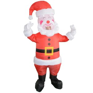 Cute Kids Adults Inflatable Santa Claus Funny Walking Dolls Annual Meeting Costume Christmas Cosplay Party Jumpsuit