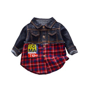 Europe United States explosion baby boys girls cotton plaid shirt letter patch stitching denim shirt handsome coat new brand top