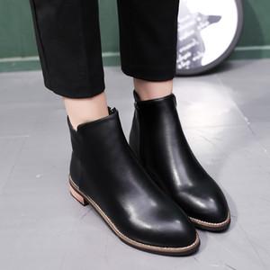 botas de invierno de la manera de la boca baja femenina versátil cálidas botas de confort y el algodón de 2018 señoras ocasionales nuevas botas de estilo MUJER v32