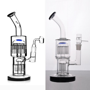bongs de vidrio reciclador burbujeador de toro con difusa árbol de brazo doble perc tubería de agua aparejo DAB con 18 mm conjunta