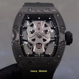 Yeni sürüm Luxry RM 52-06 Karbon Fiber Kılıf süper kahraman maske iskelet Dial Japonya Miyota otomatik Rm52-06 Mens Watch Kauçuk tasarımcı saatler