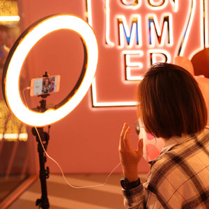 """Işık ile 18"""" 60W LED Halka Işık Anüler Lambası Bi-renk 3000K-6000K Halka Lambalar Video, YouTube'un ringlight Makyaj için Standı"""