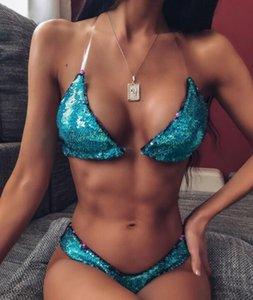2020 Bikini kordonlu Leopar kayış fırfır yüksek bel yakuda Pullu şeffaf omuz askısı baskı seksi tek parça Bandaj balık ölçeğini ayarlamak