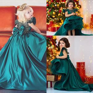 Новый прекрасный High Low Dark Hunter Green Girls Pageant платья Jewel шеи Многоуровневое Satin Bow Назад Опухшие Детские Цветочницы платье День рождения платья