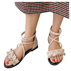 summer women 2020 sandals flat fashion Solid Color open toe zipper sandals designer shoes women luxury zapatos mujer#