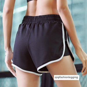 Season Yoga Female Defense Exposure Fake Two Piece Sports Shorts Stripes Slim Elastic Force Speed Dry Fitness Pants