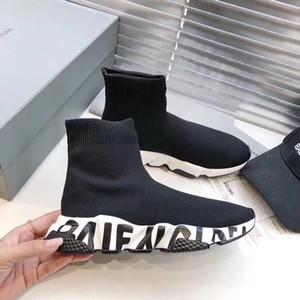 2019 Tasarımcı Sneakers Hız Eğitmen Runner Siyah Kırmızı Top Kalite Üçlü Siyah Moda Düz Çorap Çizme Günlük Ayakkabılar Boyut 35-45