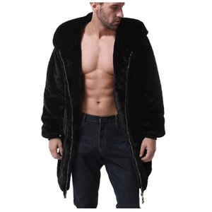 Winter männlich Pelzüberzug Herren Pelzmäntel mit Kapuze Parka Übergroßen Männer Mantel Warme Fauxjacke Männer Outwear Cardigan