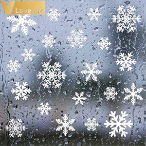 Ensemble amovible Vinyle Flocons de neige gelée de Noël Autocollant Mural Art Decal Stickers enfants fenêtre mur de Noël Décor 27pcs