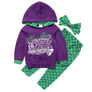 3 pieces Mermaid Kisses Print Long sleeve Hoodie Top and Pant with Headband Set For Toddler and Baby Girls Clothes Outfit