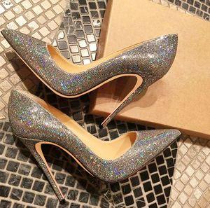 Casual Designer Mode Frauen pumpt Designer High Heels Muiti Farbe Glitter Strass Punkt Zehe hohe Absätze Braut nackt Brautkleid Schuhe 12cm