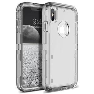 3 в 1 Clear Case для Iphone 11 Pro Max XS XR X Samsung Note10 S10 Plus Transparent Heavy Duty Defender Робот