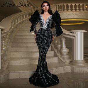 Dubai schwarze lange Hülsen-Nixe-Abend-Kleider 2020 Sexy Tiefer V-Ausschnitt Schwere wulstige Saudi-Arabien Abendkleider formales Kleid
