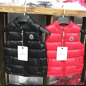 Marca de Inverno Crianças Colete Rapazes Raparigas Grosso Vest suporte Brasão Collar Botão Sólidos acolchoado mangas Quente casaco Jacket