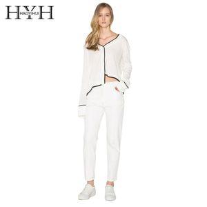 HYH HAOYIHUI 대비 관점 V 넥 비대칭 헴 스웨터 여자 퓨어 컬러 화이트 새로운 얇은 불규칙한 탑
