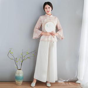 Qing Shuzhai Frühling und Sommer im chinesischen Stil Verbesserung Mode Republikanische Art-Rosa-Retro Han-Klage Kurz Top