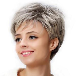 مستقيم شعر مستعار قصير الجني حلاقة نمط الباروكات للنساء الابيض الشعر الاصطناعية درجة الحرارة العالية الألياف