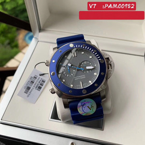Super Watches 011 V7 PAM982 Montre DE Luxe 47mm 316L metal case rotary blue ceramic watch ring rubber band smart watch