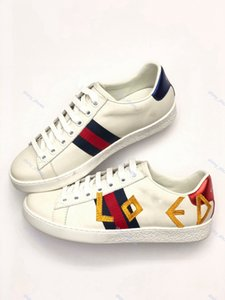 2020 xshfbcl Hot progettista marque Casual Shoes luxe white Ace green blue red stripe bee tiger snake loved sneaker for men women size 35-44