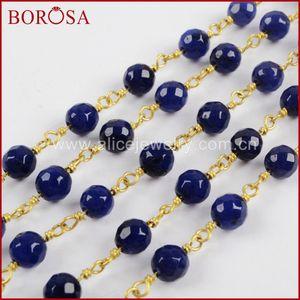 großhandel 5 meter gold farbe silber farbe 6mm tiefblau a-gate facted perlenkette perlen ketten messing ketten schmuckzubehör jt229