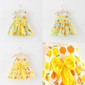 Kinder-Baby-Sommer Ärmel Lemon Printed Riemen-Kleid Lässige Kleidung Sundress Straps Sommer-Strand-Soft-Big Bow Kleider M1406