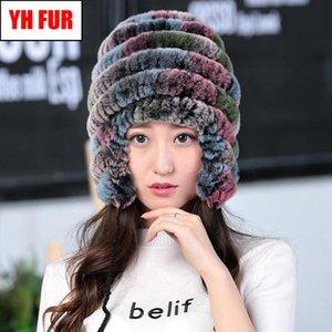2019 Kadınlar Gerçek Doğal Rex Kürk Şapka Rusya Kış Lady Rex Kürk Beanies Caps Örme Gerçek Cap Isınma