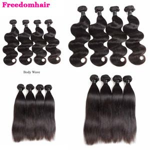 Capelli lisci Fornitori Body Wave tessuto dei capelli umani Bundles brasiliano peruviano indiano malese onda corpo Virgin di Remy dei capelli trame estensioni