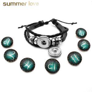 Snap botton 12 Zodiac Constellation Glowing Charm Armband für Frauen Männer Multilayer Geflochtenes Leder Armband Mode Geburtstag Schmuck Geschenk