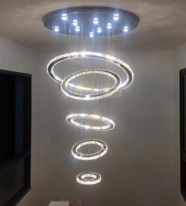 Grand Cristal De Luxe LED Lustre Luminaire 5 Anneaux Cercle LED Pendentif En Cristal Suspension Suspension Escalier Hall Gradation Lustres LLFA