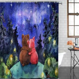 12 후크 커튼 폴리 에스테르 커튼 숲 만화 곰 욕실 샤워 커튼 욕실 항목 방수 샤워