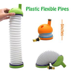 Bukket Rauchpfeifen Gravity Bong Kunststoffrohre Flexible Wickie Rohre für trockene Kräuter Caterpillar Rohr 4 Farben 5 Zoll